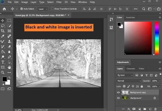 how to invert colors on a picture